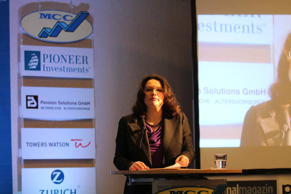 Bundesarbeitsministerin Nahles, MCC-Kongress Zukunftsmarkt Altersvorsorge; Berlin. Foto: Löw
