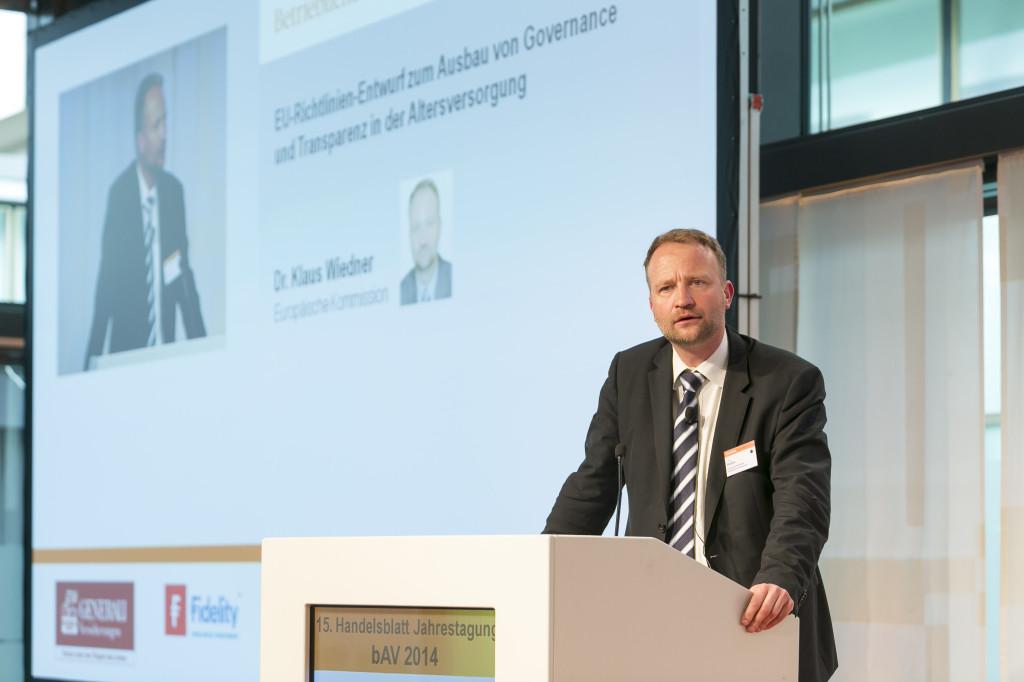 Klaus Wiedner auf der 15. HB-bAV-Tagung am 25. März 2014 in Berlin. Foto: Euroforum/ D. Gust