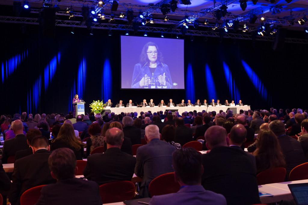 Andrea Nahles auf der aba-Jahrestagung am 6. Mai 2014 in Berlin