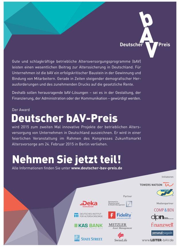 Deutscher bAV-Preis 2015.
