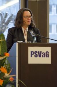 Andrea Nahles vor dem PSV am 12. Dezember 2014. Foto: PSV / Zinsmeister
