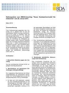 Die BDA-Stellungnahme zum neuen 17b