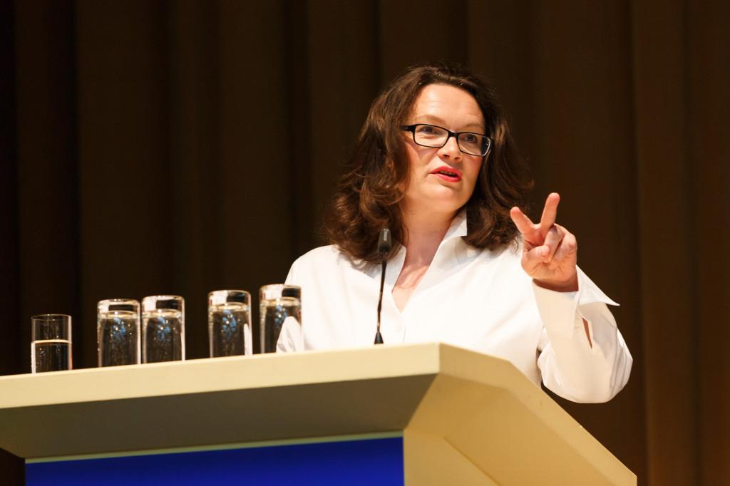 Andrea Nahles spricht auf der aba-Jahrestagung im Mai 2015 in Berlin. Foto: aba