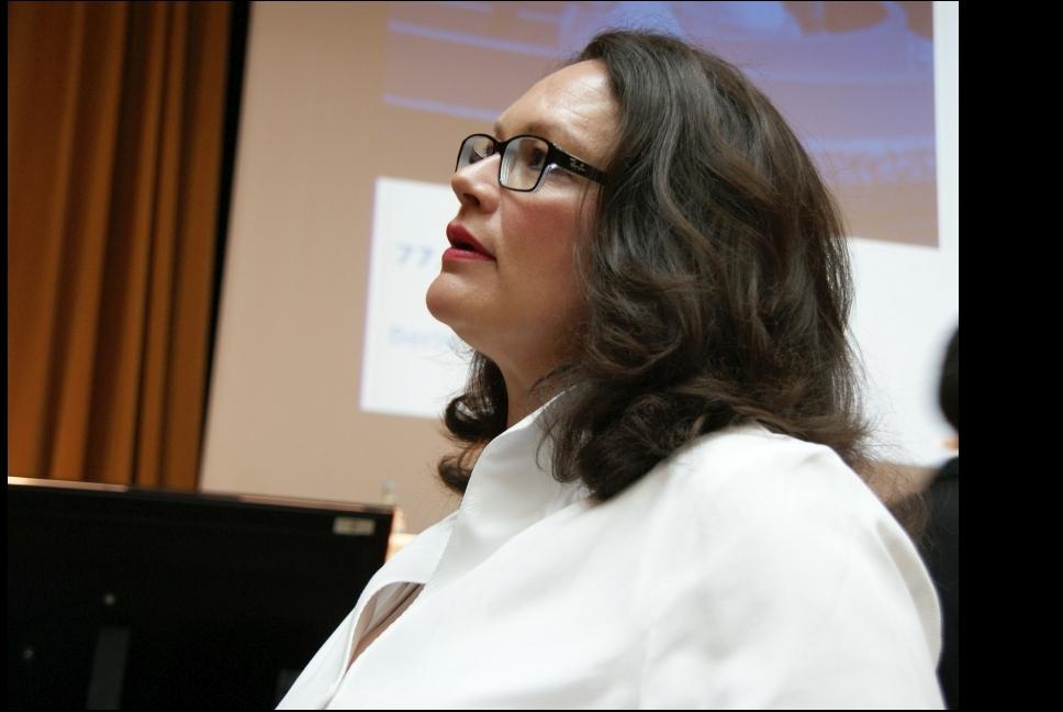 Andrea Nahles vor Ihrer Rede auf der aba-Jahrestagungm Mai 2015 in Berlin. Foto: Brüss
