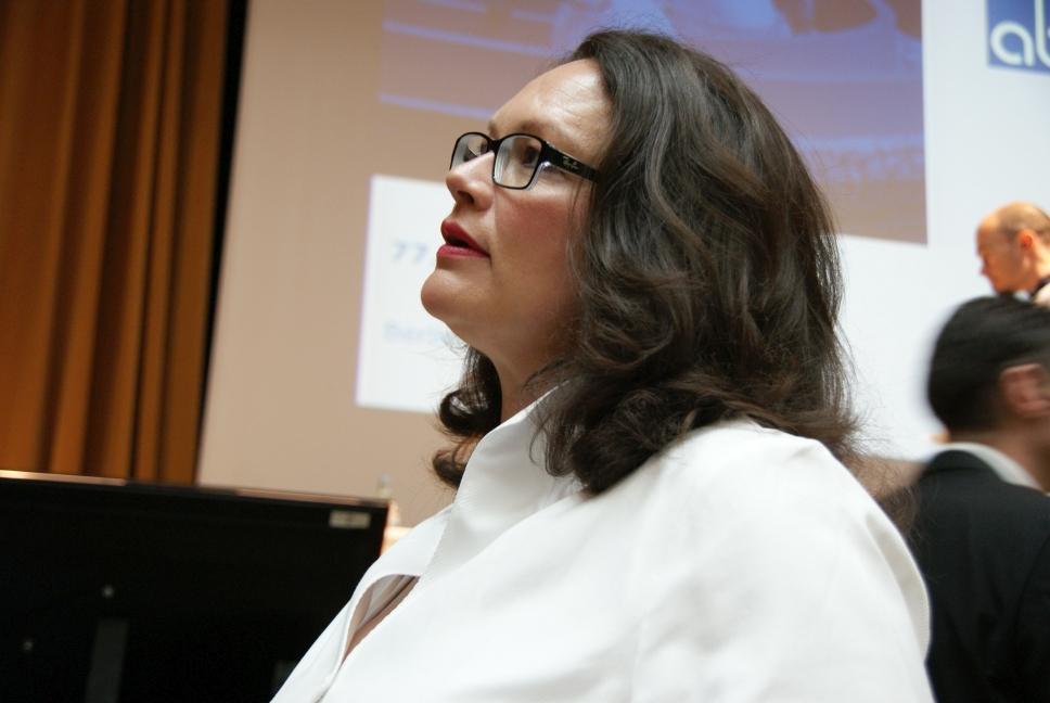 Andrea Nahles vor ihrer Rede auf der aba-Jahrestagung im Mai 2015 in Berlin. Foto: Brüss