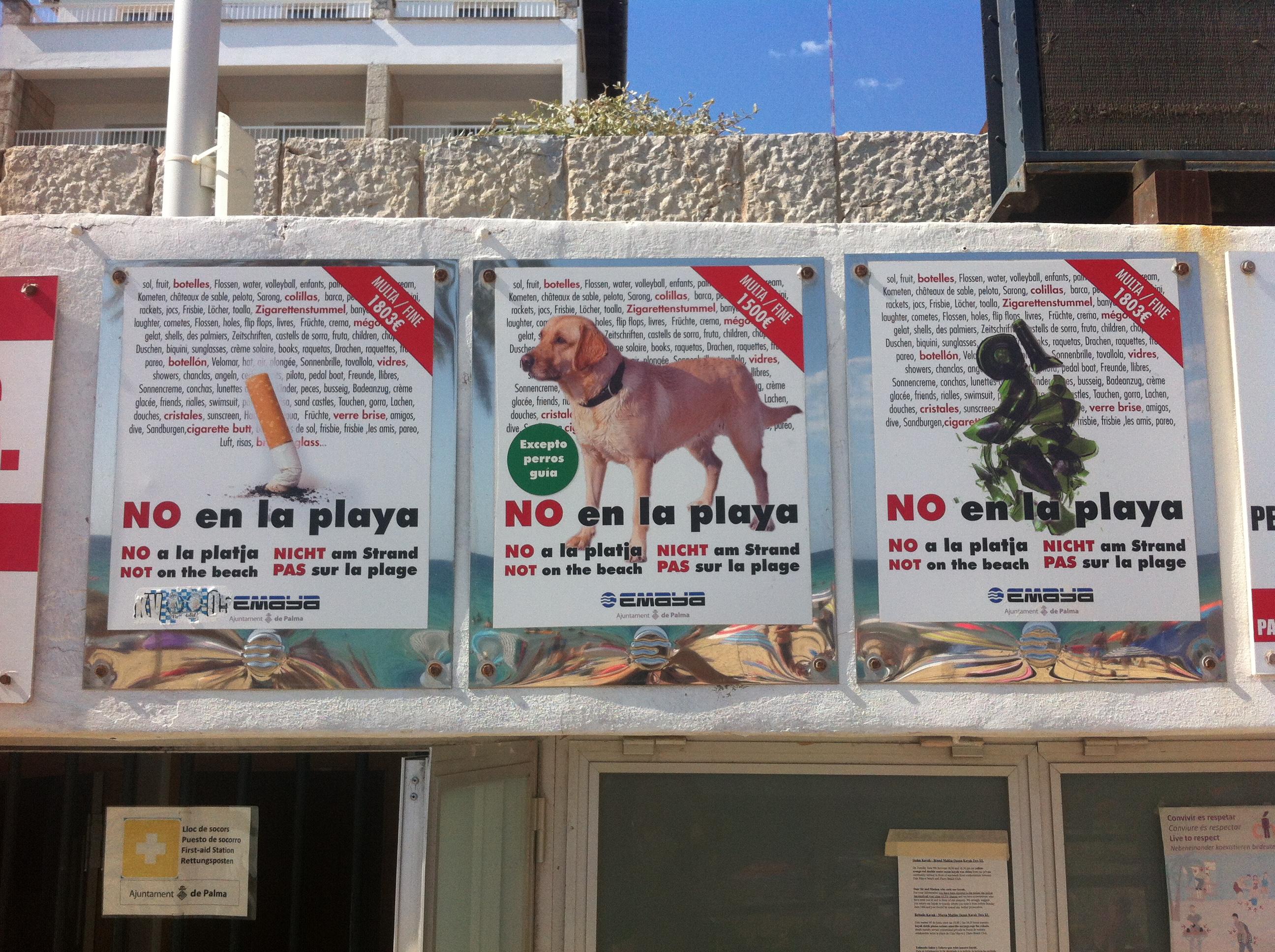 Verbotsschilder am Strand von Cala Mayor, Mallorca. Foto: Kassandra.