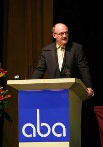Michael Meister, parl. StS im BMF, auf der aba-Jahrestagung am 25. April 2016 in Berlin. Foto: Sandra Wildemann.